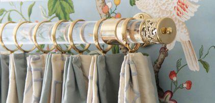 Custom Lattice Finial Lucite and Gold Brass Drapery Curtain Rod