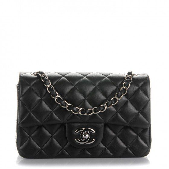 eb367c1150aeac This is an authentic CHANEL Lambskin Quilted Rectangular Mini Flap in Black.  The chic mini cross body classic is crafted of soft quilted lambskin  leather in ...