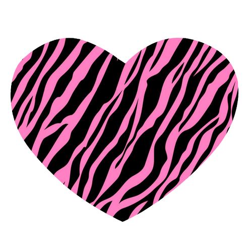 Pink And Black Zebra Hearts