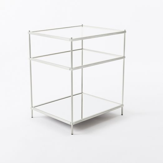 Great The Terrace Nightstandu0027s Polished Nickel Finish Gives It A Pretty Shine,  While Tiered Clear Glass Shelves Appear To Float Above A Mirrored Glass  Base.