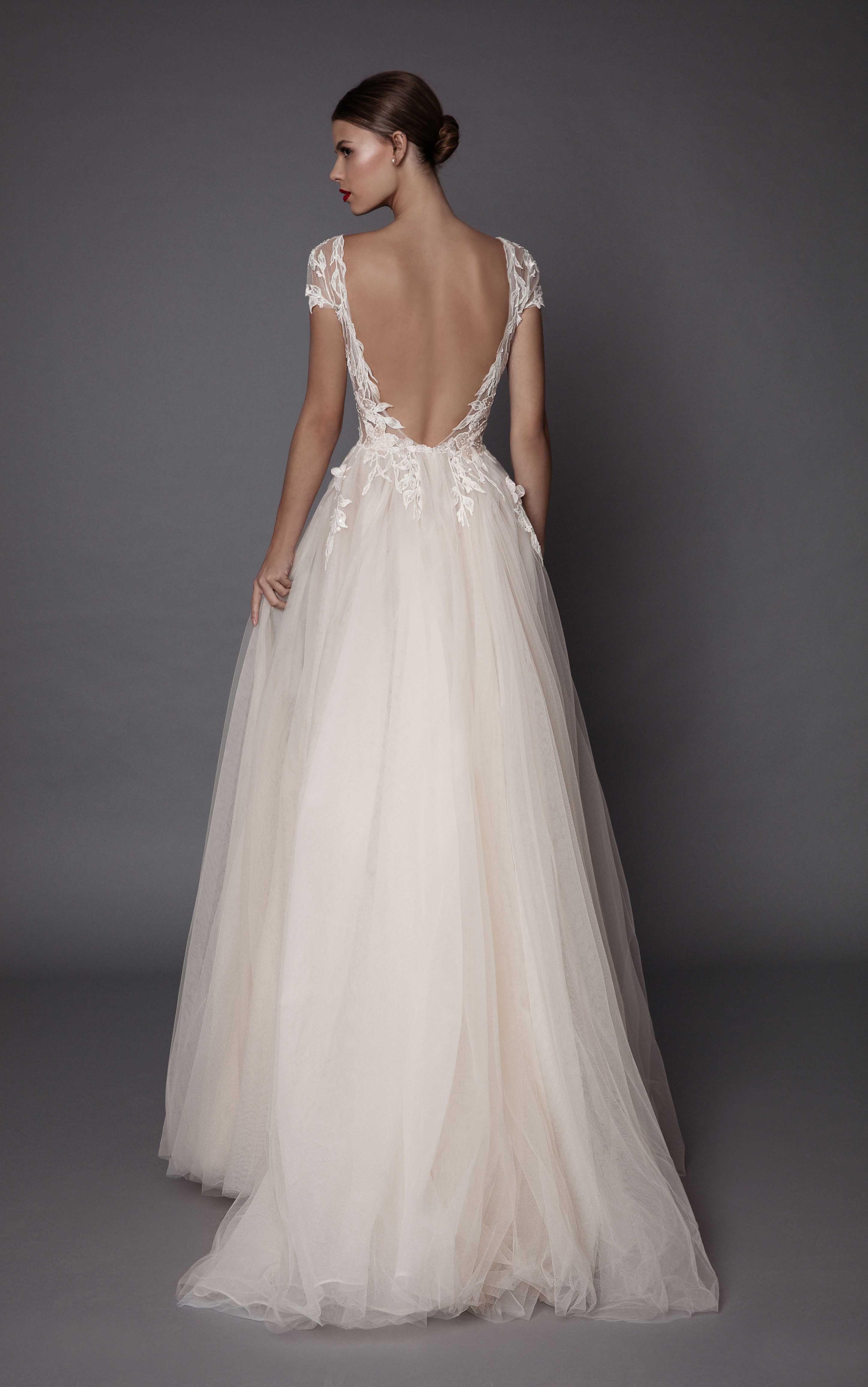 Brautkleid, Hochzeitskleid, rückenfrei, Spitze, mit Cap Ärmeln ...
