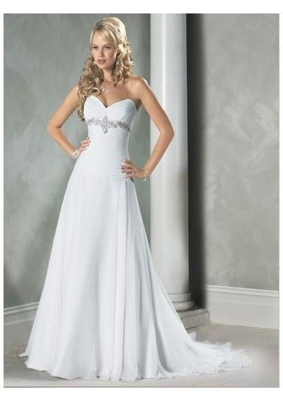 Wedding Dress Online Chiffon Sweetheart Empire Waist A Line Skirt With Beaded Bustline And Lace Up Back Chapel Train Gown Wm 0066