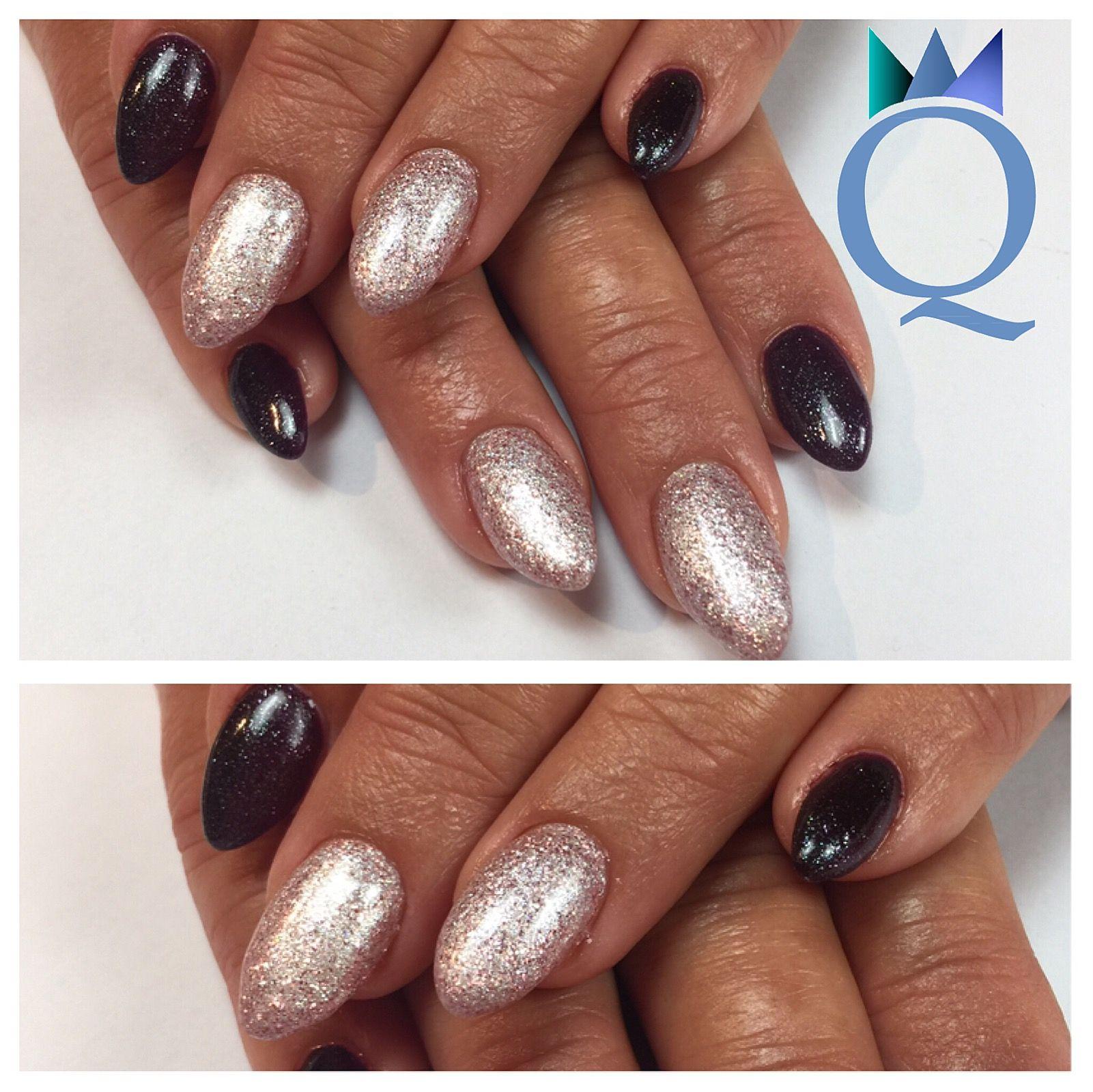 almondnails #gelnails #nails #darkpurple #white #glitter #mandelform ...