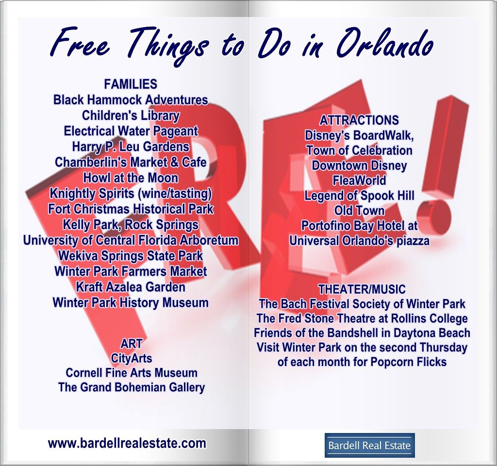 Looking to save a few bucks while you are in town? Keep an eye for these free things to do from Art to Family activities around town. There is always free family fun for everyone.  www.bardellrealestate.com