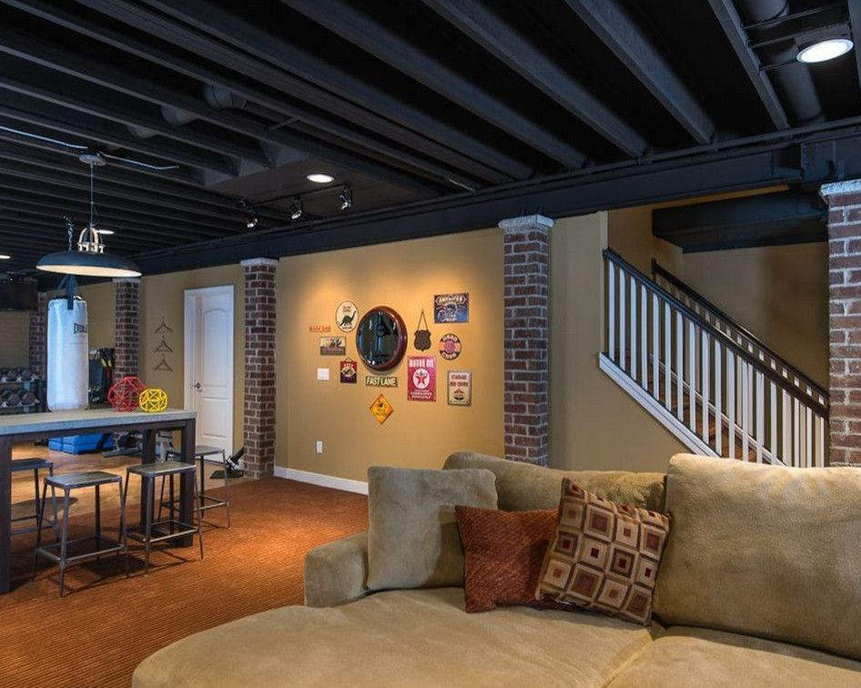 Black Ceiling Basement Ideas