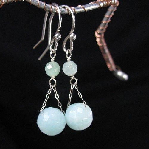 Amazonite Earrings Blue Gemstone Sterling Silver Artisan Jewelry | bohowirewrapped - Jewelry on ArtFire