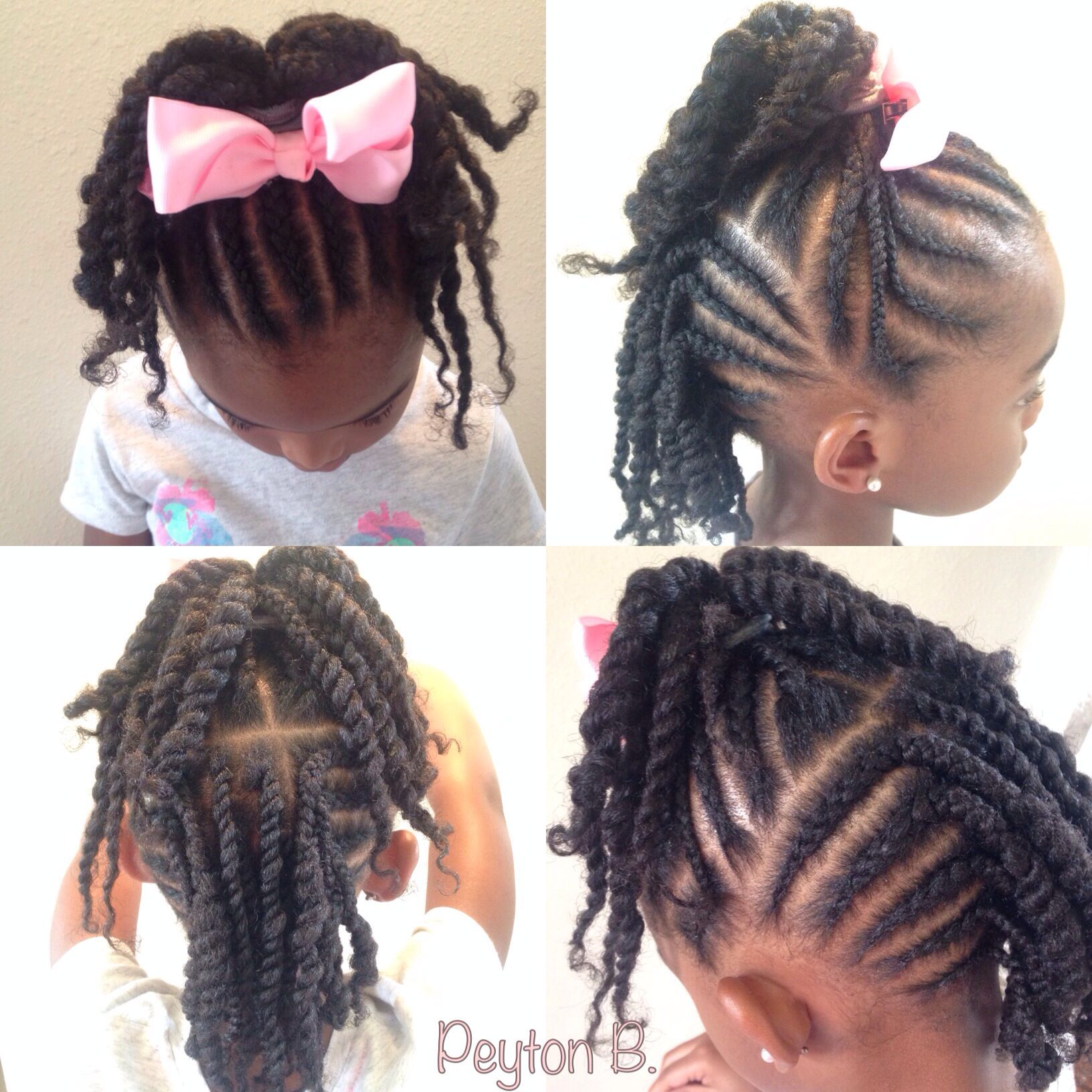 Top: Cornrows with ends twisted up into ponytail. Back: Cornrows   ...