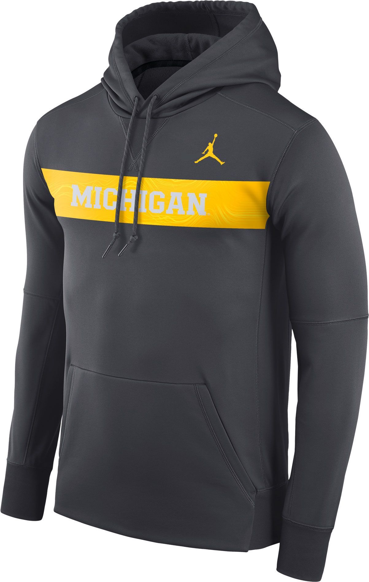 84a7a8a74a9155 Jordan Men s Michigan Wolverines Anthracite Therma-FIT Pullover Sideline  Hoodie