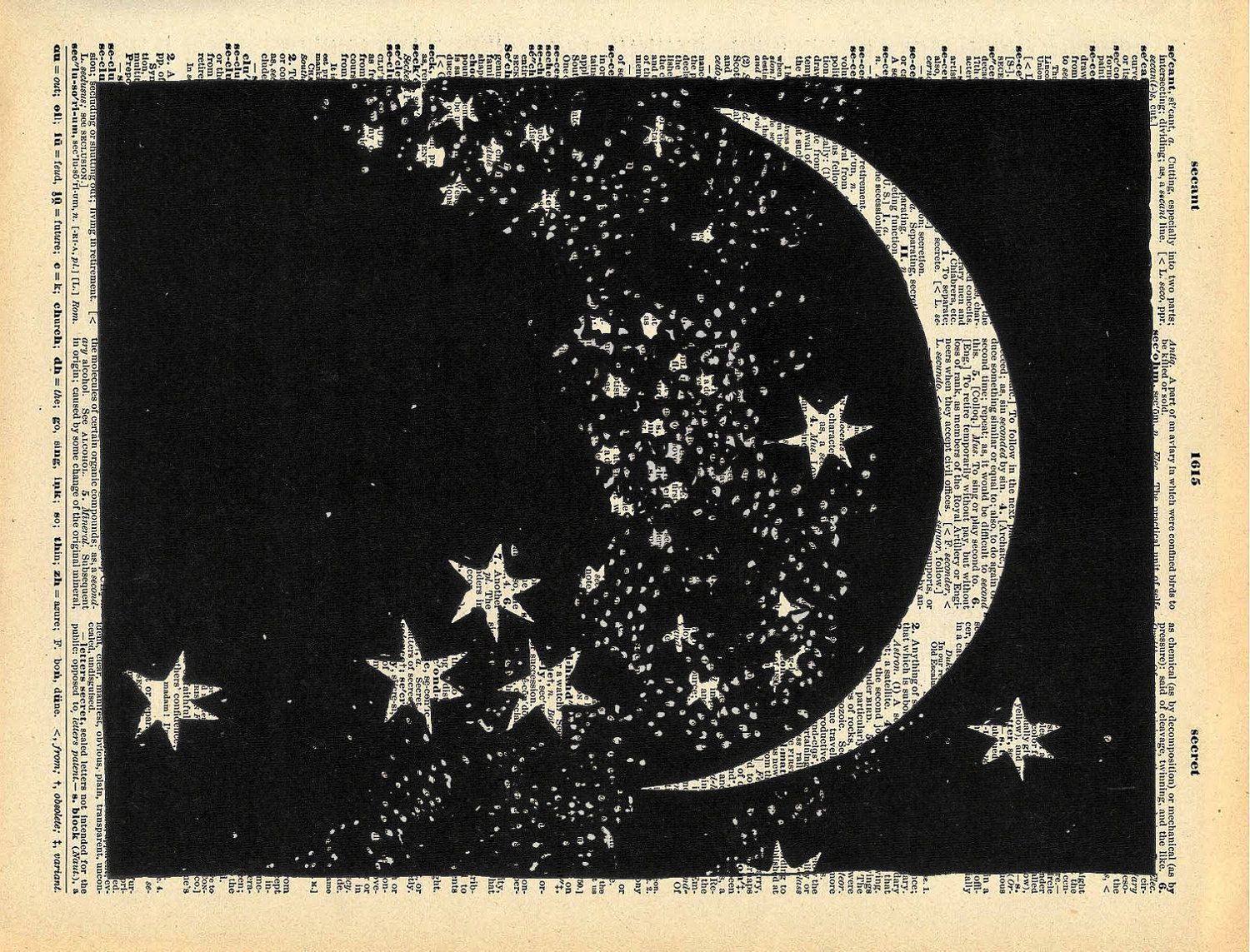 """Vintage Book Art Print """"The Moon and Stars"""" Upcycled ..."""