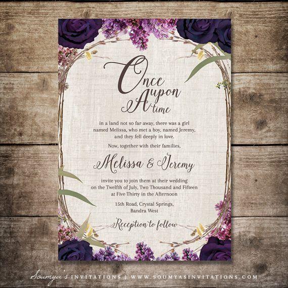 Enchanted Forest Wedding Invitation Purple Wedding Fairy Tale