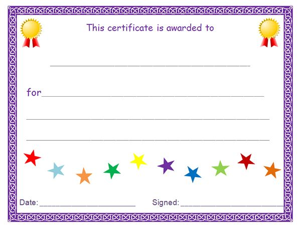 Blank award Certificate End of the school year Pinterest