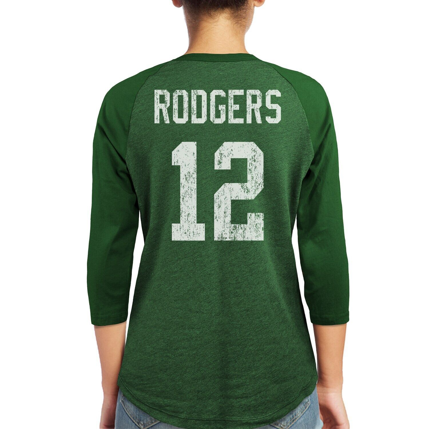 Women S Majestic Aaron Rodgers Green Green Bay Packers Player Name Number Tri Blend Three Quarter Sleeve T Long Sleeve Tshirt Men Long Dress Casual Mens Tops