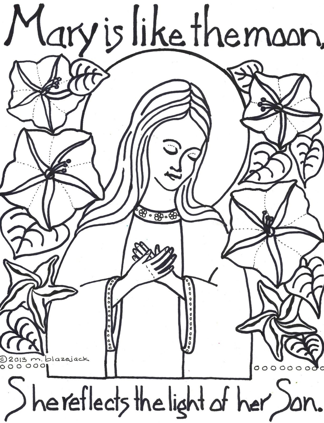 jesus and mary coloring pages | Click HERE Moon Flowers and Mary ...