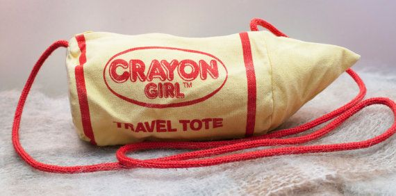 Vintage Crayon Girl Travel Tote by PlaidWolfCuriosities on Etsy, $11.95