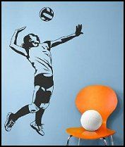 Volleyball Server Mural Sticker Decal Girls Sports Theme Bedroom Wall Decorations Girls Sports Bedroom Volleyball Room Volleyball Bedroom