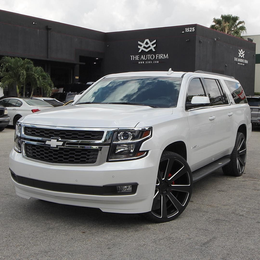 4 690 Likes 43 Comments Alex Vega Theautofirm On Instagram Chevy Suburban Color Keyed White Calipers Painted Chevy Suburban Dream Cars Lexus Chevy