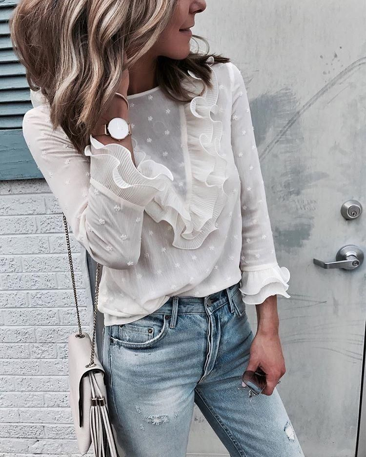 c90f8233fed5b7 Women Long Sleeve Lace Top Ladies Crew Neck Casual Frill White Blouse Tee