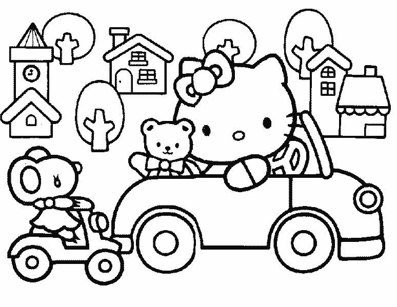 printable coloring pages hello kitty friendship | I have download Hello Kitty Playing Cars With Friends ...