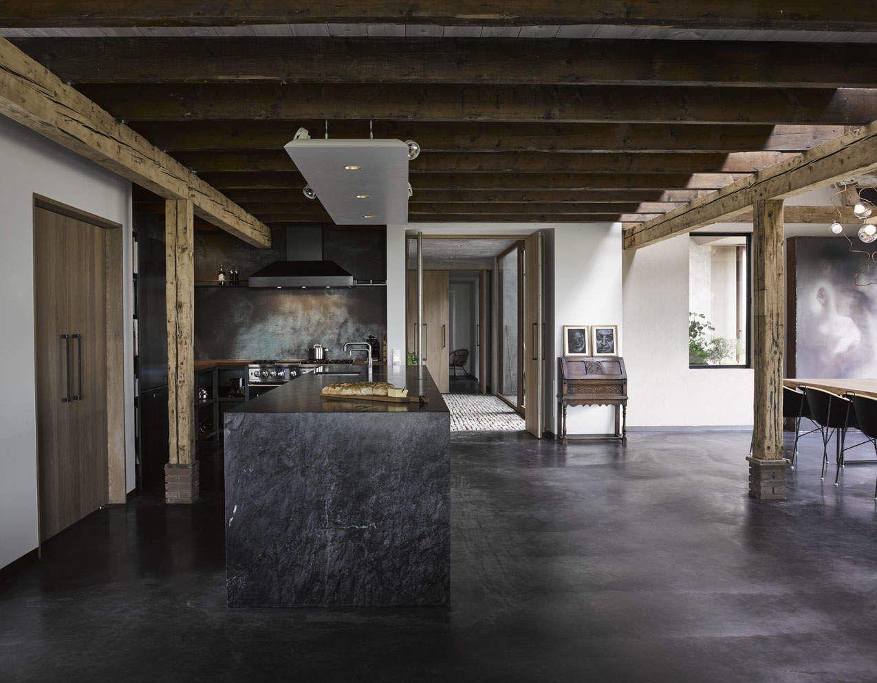 Kitchen, Black Marble, Black Floor, Concrete, Wood, Farm, Copper,