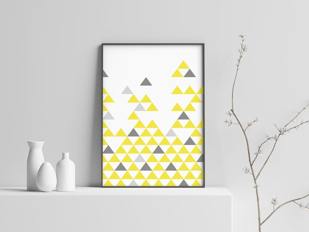 Yellow Gray Build Modern Scandinavian Print Poster 7 Scandinavian Print Poster Prints Scandi Art
