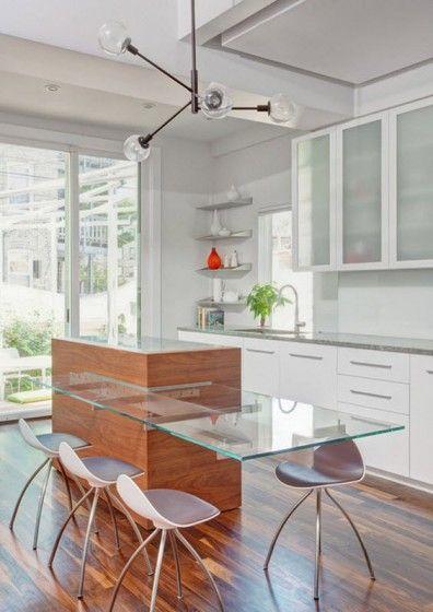 Diseños de modernas cocinas con islas que parecen flotar, inspírate - modelos de cocinas