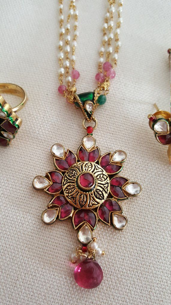 45de0c95856e33 Antique Finish Ruby Kundan and Seeded Pearl Pendant Necklace, Earrings &  Finger Ring~High End Real S
