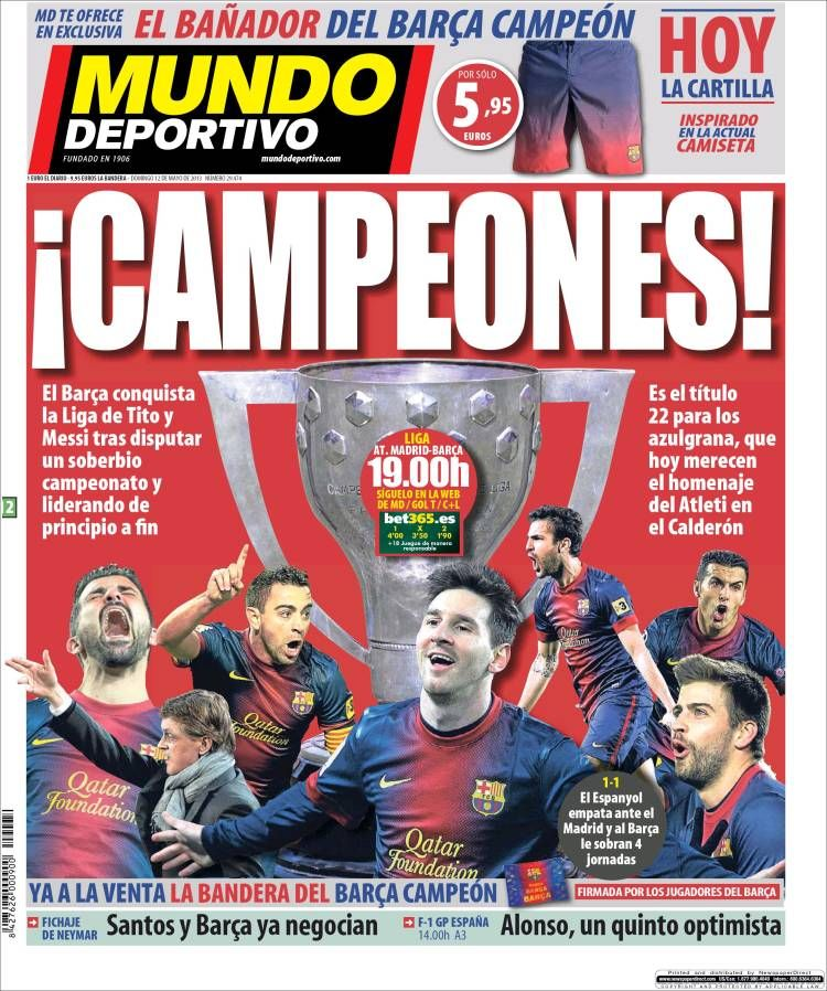 Los Titulares y Portadas de Noticias Destacadas Españolas del 12 de Mayo de 2013 del Diario Mundo Deportivo ¿Que le parecio esta Portada de este Diario Español?