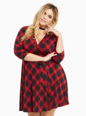 Plaid Print Wrap Dress in Red