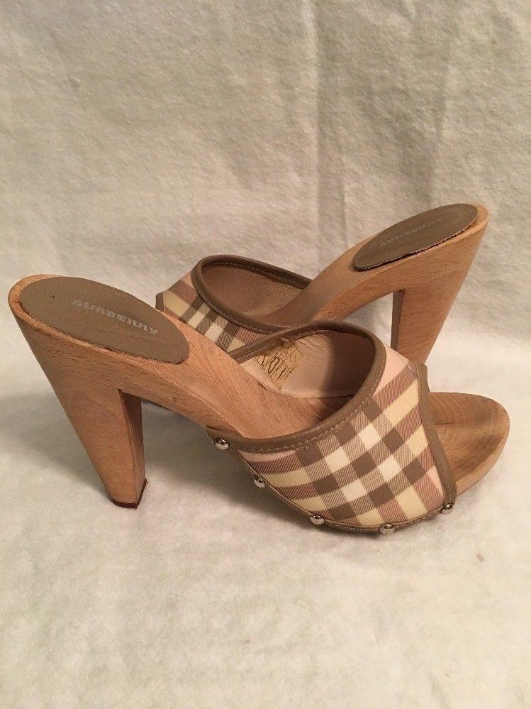 Authentic Burberry Sandals Big Buckle Nova Check Wooden Size 36