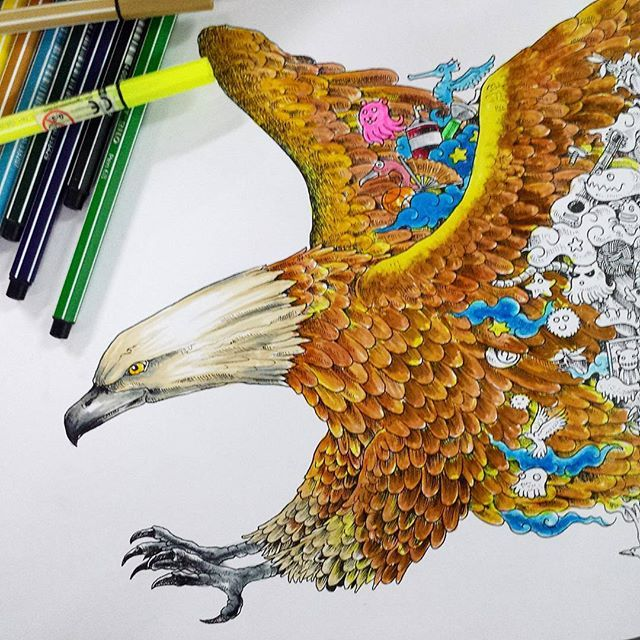 Bird of Prey (Ibong Mandaragit). #Animorphia #STABILO #Coloring #Pen68 #Raptor #Artwork #Artfido