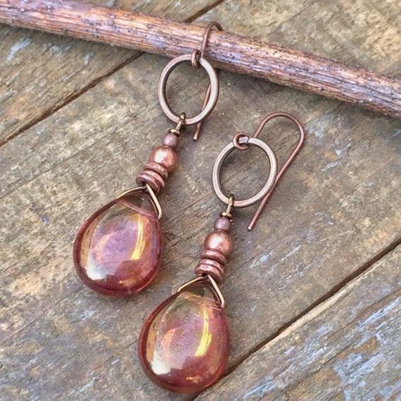 Rose Gold Teardrop Earrings Copper Earrings Rose Gold Glass Bohemian Earrings Bohemian Je Rose Gold Teardrop Earrings Copper Earrings Rose Gold Glass Bohemian Earrings Bo...