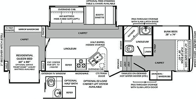 1323qb Travel Trailer Floor Plans Bathroom Floor Plans Bunk Beds
