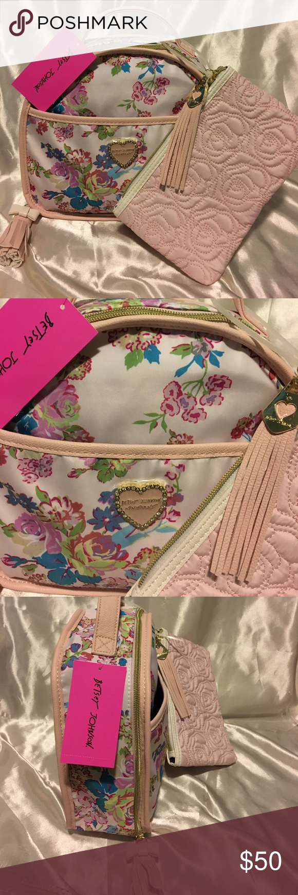 💋NWT Betsey Johnson Floral Train Case w/ pouch BRAND NEW with tag Betsey Johnson Blush Floral Train Case with Pouch! Gorgeous with interior pockets,gold zipper closure, a top handle, and two tassels. Will ship immediately, get her now❤ Betsey Johnson Bags Cosmetic Bags & Cases