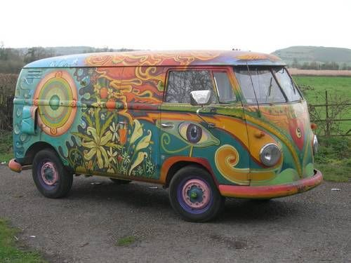 1956 hippie painted VW Panel Van For Sale /Not my pin but I had to