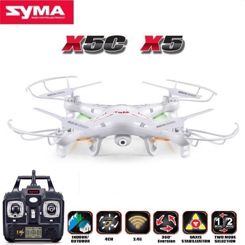 Toys SYMA X5C 24G 4CH 6 Axis RC Helicopters With 2MP HD Camera Quadrocopter