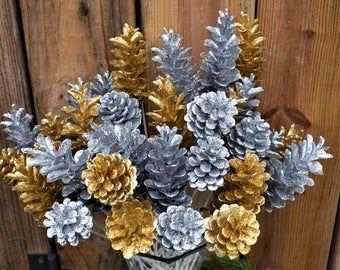 Holiday Pine Cone Flowers/ Glitter Pine Cone Flowers/Dozen Pinecone Flowers on Stems/ Hand Crafted Pinecone Flowers #pineconeflowers