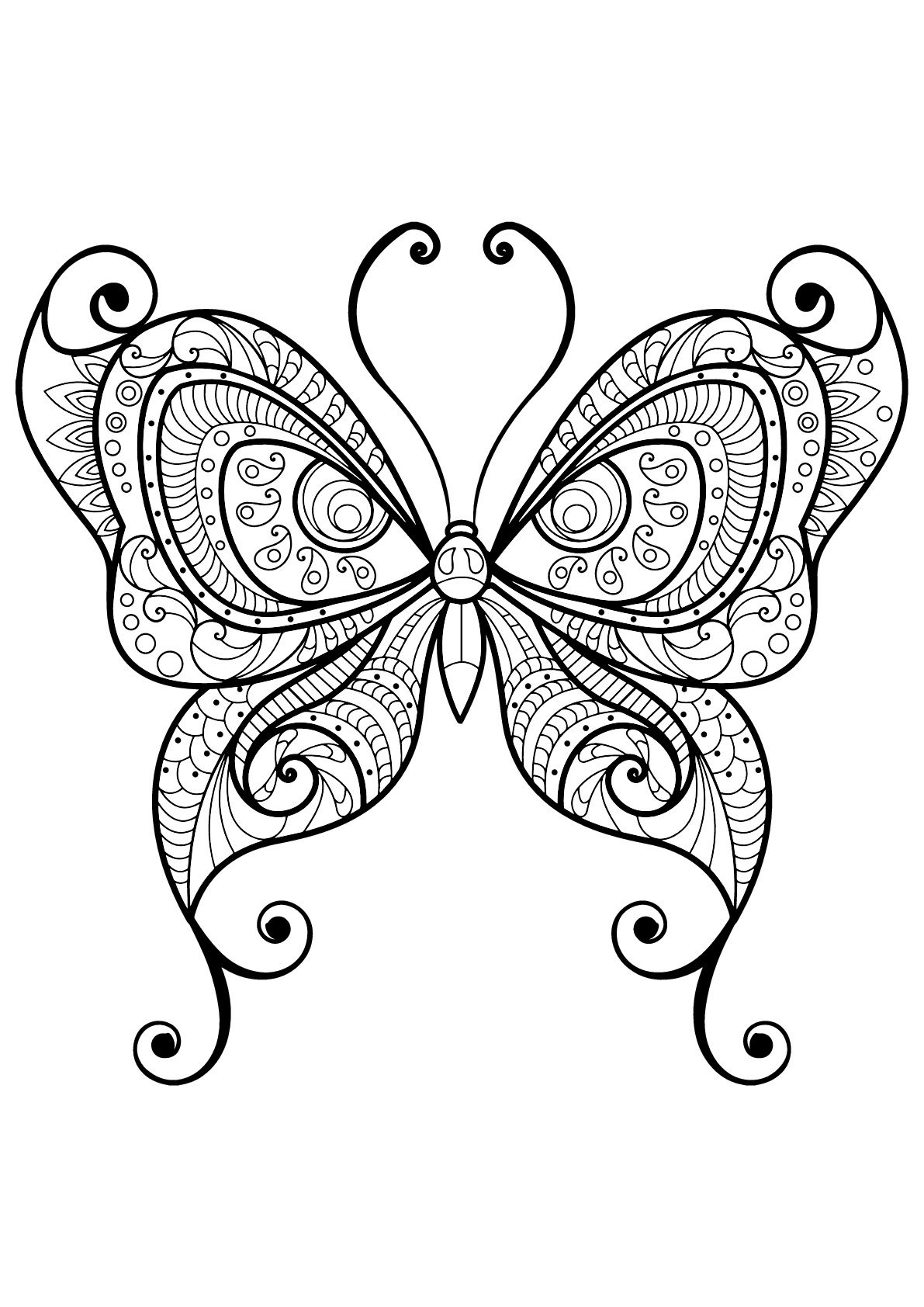 Butterfly Beautiful Patterns 10 Butterfly With Beautiful Patterns 10 From The Gallery In Butterfly Coloring Page Butterfly Mandala Insect Coloring Pages [ 1684 x 1191 Pixel ]