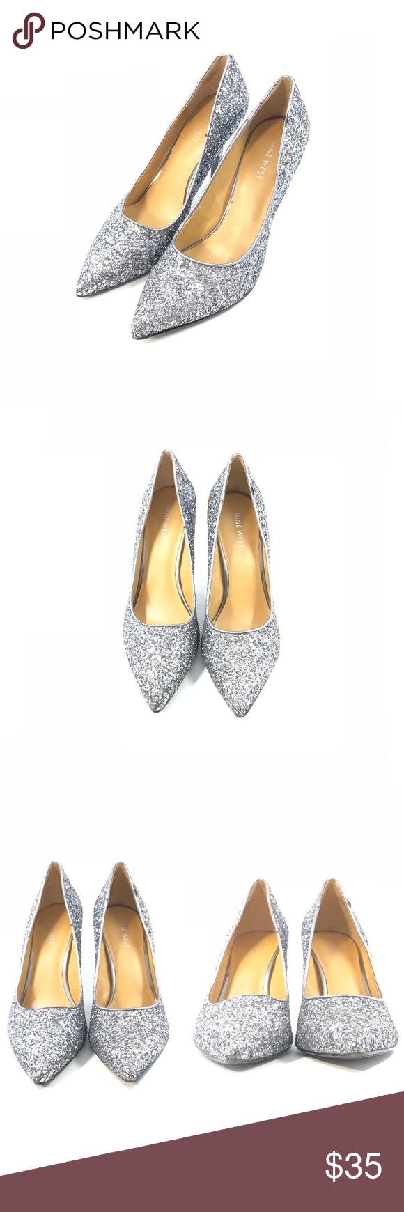 27ec5130620 Nine West Flax Sparkly Glitter Pump Size 8.5M Fits true to size. Pointed toe  Allover metallic silver glitter Slip-on Approx. 3 7 8