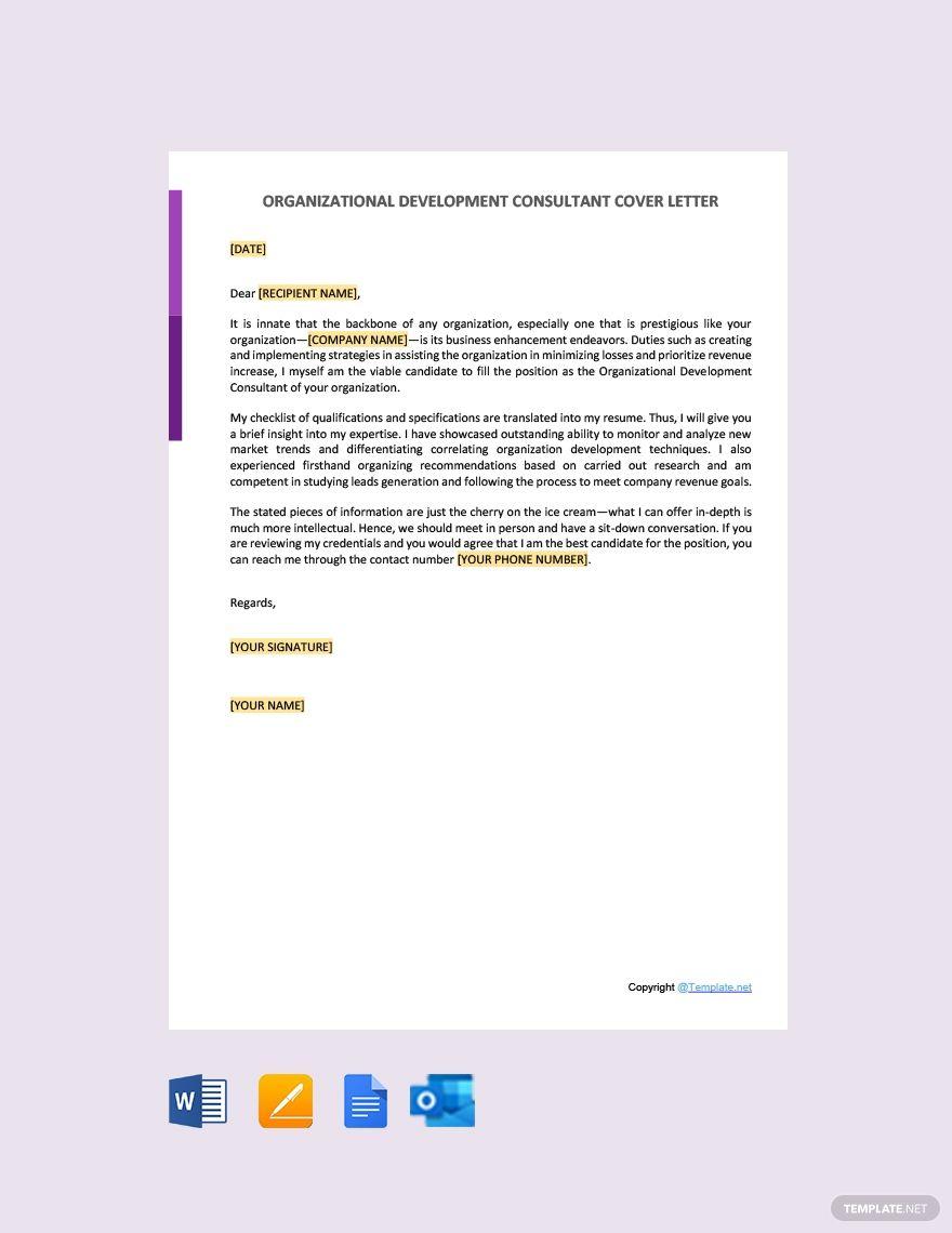 Organizational Development Consultant Cover Letter Template Free Pdf Google Docs Word Apple Pages Template Net Cover Letter Template Free Cover Letter Template Organizational Development Consultant