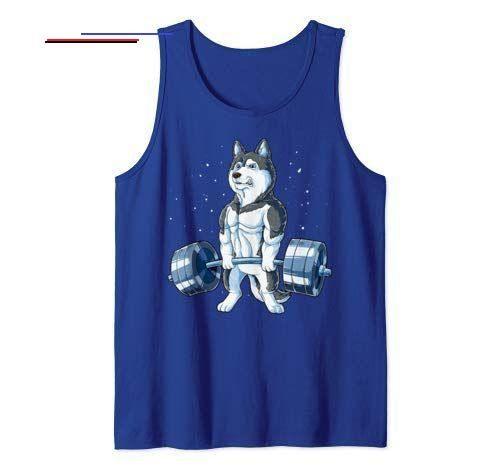 Siberian Husky Weightlifting Funny Deadlift Men Fitness Gym Tank Top #Deadlift #Fitness #Fitness Tra...