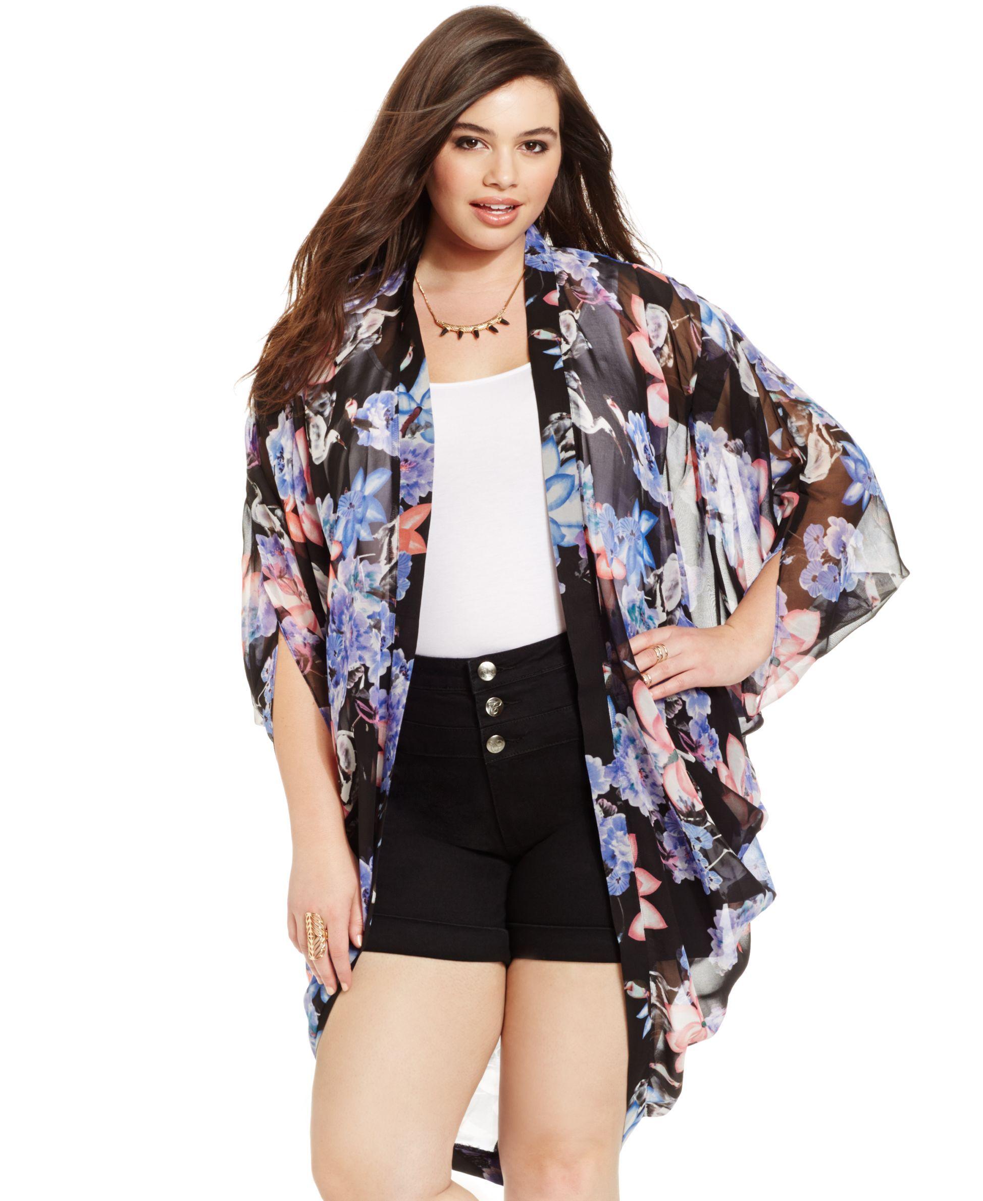 43d831150 City Chic Plus Size Floral-Print Kimono Cardigan | Products | Pinterest