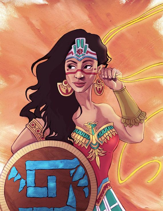 I have been wanting to do this print for a long time. Aztec Wonder Woman. She is meant to be a companion piece to the Black Wonder Woman I painted a long time ago. It has the same background. Its printed on 8.5 by 11, 80 lb cougar paper, fully colored. Enjoy #aztec