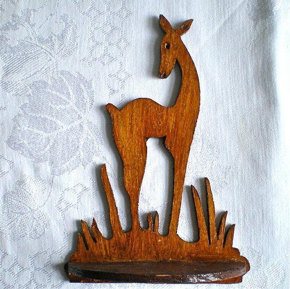 Vintage, Folk Art, Deer Shelf, Wooden, Wall Decor, Hand Made,1940s, 1950s