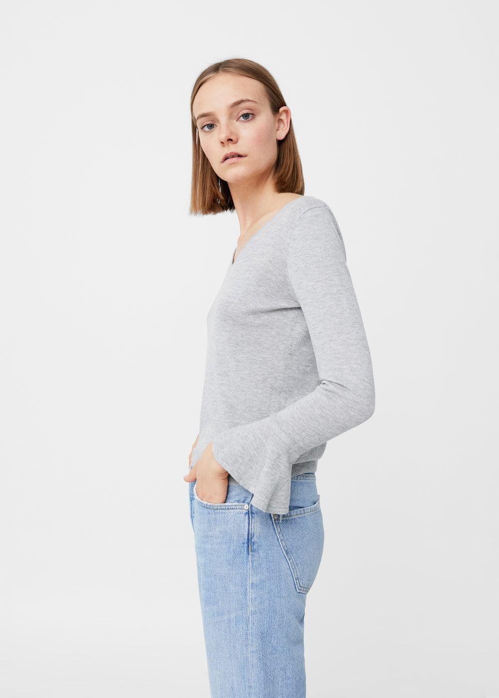 Flared sleeve cotton-blend jumper | MANGO