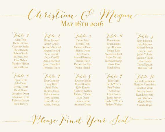 Printable Seating Chart \/ Printable Wedding Seating Chart - printable seating charts