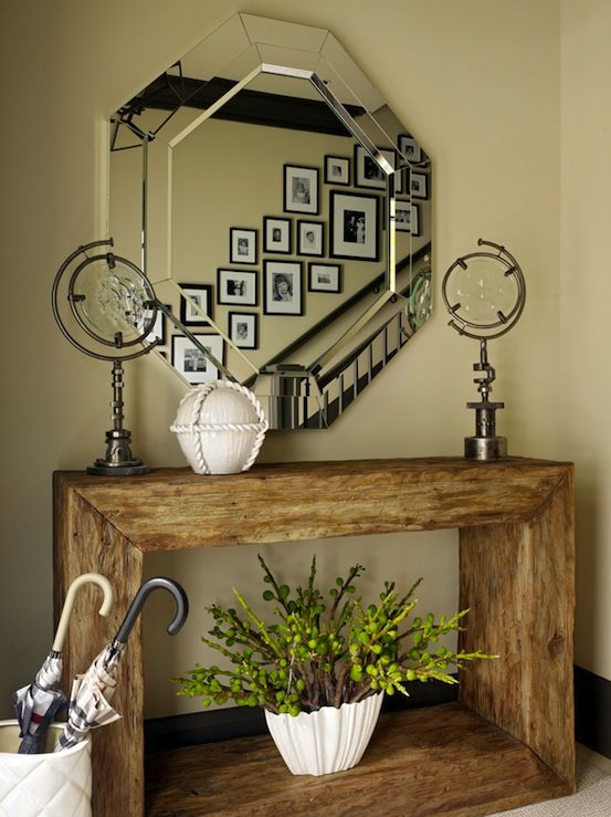 Jeffers Design Group Rustic Entry Design With Oversized Octagon Mirror,  Reclaimed Wood Console Table, Yellow Walls Paint Color And White Umbrella  Stand.