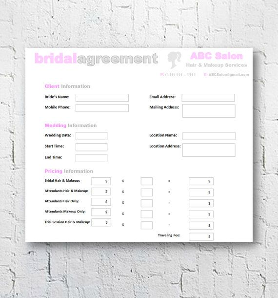 Hair Stylist \ Makeup Artist Bridal Agreement Contract Template - editable receipt template
