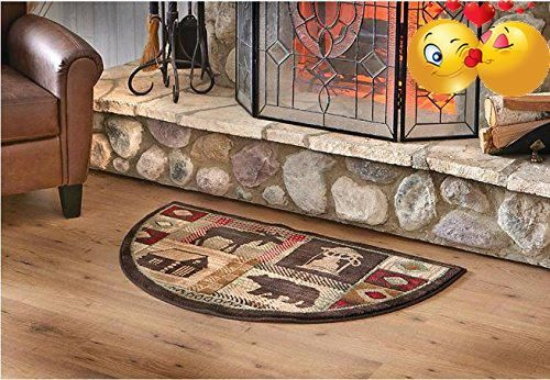 Moose Hearth Rug Fire Resistant Flame Ant Material Protects Floor Around Fireplace Hunting Themed Half Moon Mat Use At Cabin