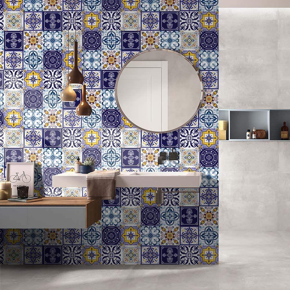 سيراميك حمام عصري بالنقشات الهندسية الأسلوب الشرقي Round Mirror Bathroom Bedroom Furniture Design Bathroom Mirror