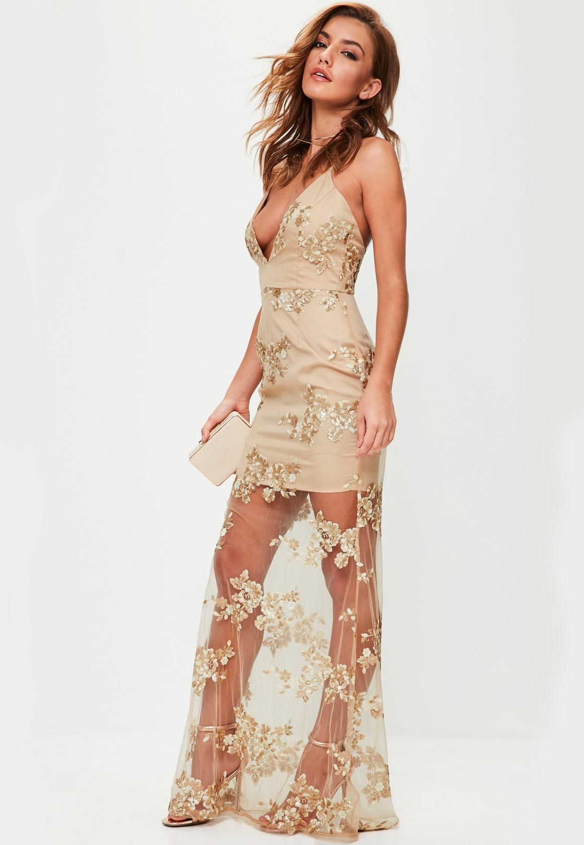 Nude Embroidered Plunge Maxi Dress